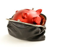 Funny Red Pig Piggy With Old Fashioned Purse Stock Photos