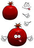 Funny red pomegranate fruit with face and hands Royalty Free Stock Photography
