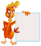 Funny red rooster holding white sheet. Cock symbol 2017 Stock Photography