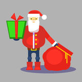 Funny red santa claus with bag and gift. Present for you. Vector. Christmas greeting card or poster. Royalty Free Stock Photos