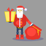 Funny red santa claus with bag and gift. Present for you. Vector. Christmas greeting card or poster. Stock Photos