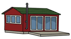 Funny red small house. Hand drawing of a funny dark red small house Stock Images