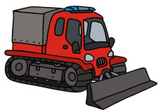 Funny red snowgroomer. Hand drawing of a funny red cover snowplow royalty free illustration