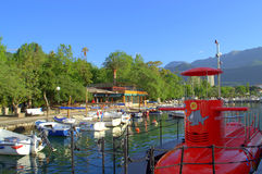 Funny red submarine at harbour Stock Photography