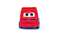 Funny red toy car. On white background Royalty Free Stock Image