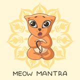 A funny red yogi kitten sits in a lotus pose and sings a mantra with an inscription and a mandala. Stock Photos