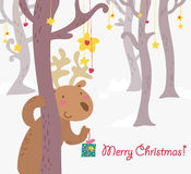 Funny reideer christmas greetings card. Funny reindeer in a fantasy forest Christmas greetings card. Hand drawn  vector illustration Royalty Free Stock Photography