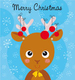 Funny reindeer. Illustration of cute reindeer with christmas balls on blue background Royalty Free Stock Images