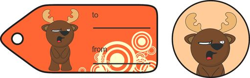 Funny reindeer cartoon gift card expression 2 Royalty Free Stock Photo