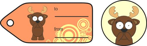 Funny reindeer cartoon gift card expression 4 Royalty Free Stock Image