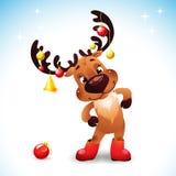 Funny reindeer christmas. Cute Santa Reindeer with Bow Bell and christmas balls Stock Photos