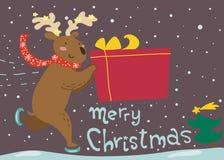 Funny reindeer Christmas card. Funny reideer skates on ice with christmas gift Stock Photos