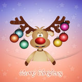 Funny reindeer for Christmas. Illustration of Funny reindeer with Christmas balls Royalty Free Stock Images