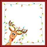 Funny reindeer with christmas lights in red frame. Funny reindeer with christmas lights tangled in antlers in red frame with white background vector illustration