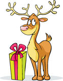 Funny reindeer and gift - vector illustration Stock Photos