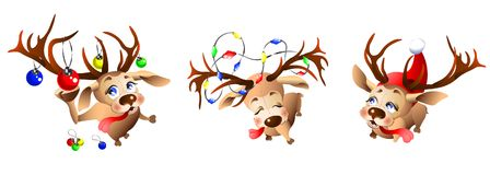 Funny reindeer preparing for the new year and Christmas. Illustration on white background stock illustration