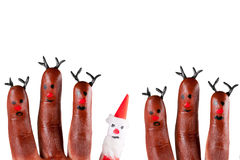 Funny reindeer and Santa Stock Images
