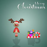 Funny reindeer with slide at Christmas. Illustration of Funny reindeer with slide at Christmas Royalty Free Stock Photos