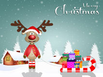 Funny reindeer with slide at Christmas. Illustration of Funny reindeer with slide at Christmas Royalty Free Stock Photo