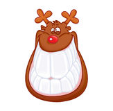 Funny reindeer smiling isolated Royalty Free Stock Photography