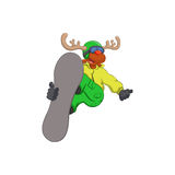 Funny reindeer on a snowboard Royalty Free Stock Photos