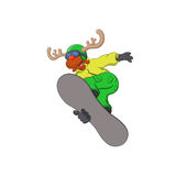 Funny reindeer on a snowboard Stock Image