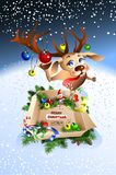 Funny reindeer wishes you merry Christmas!. Worth box with gifts Royalty Free Stock Photography