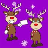 Funny reindeer xmas cartoon emotions set Royalty Free Stock Image