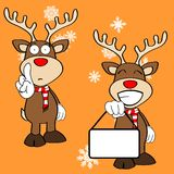 Funny reindeer xmas cartoon emotions set8 Royalty Free Stock Photo