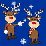 Funny reindeer xmas cartoon emotions set9 Royalty Free Stock Image