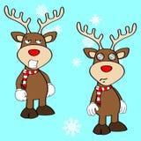 Funny reindeer xmas cartoon emotions set12 Stock Images