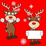 Funny reindeer xmas cartoon emotions set13 Royalty Free Stock Photography