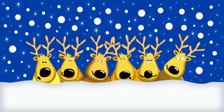 Funny reindeers. Snow is falling over six funny reindeers, useful illustration for greeting card Royalty Free Stock Photos