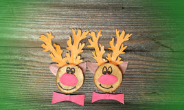 Funny reindeers with Christmas card Stock Image