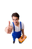 The funny repairman with tools isolated on white Royalty Free Stock Photos