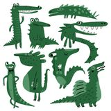 Funny reptiles. Bunch of funny reptiles, crocodile, dinosaurs, lizard and dragon Stock Images