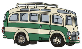 Funny retro autocar. Hand drawing of a funny classic green and white touristic bus Royalty Free Stock Images