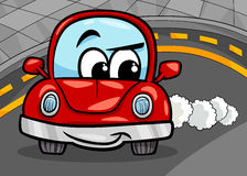 Funny retro car cartoon illustration Stock Photography