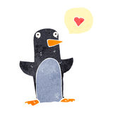 Funny retro cartoon penguin with love heart Stock Photos