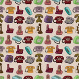 Funny retro cartoon phone seamless pattern Royalty Free Stock Image