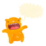 Funny retro cartoon shouting little bear. Retro cartoon with texture. Isolated on White Royalty Free Stock Photo