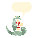 Funny retro cartoon snake eating sock Stock Images