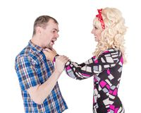 Funny retro family couple fighting and shouting at each other royalty free stock images