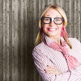 Funny Retro Female Nerd Girl With Dorky Smile Royalty Free Stock Photography