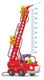 Funny retro fire truck or firemachine meterwall. Meterwall or height meter with funny red old-styled toy fire truck or firemachine with the raised folding ladder Stock Photos