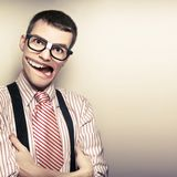 Funny Retro Male Nerd With Big Mouth On Copyspace Royalty Free Stock Photos