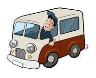 Funny retro van. Funny cartoon man is driving an old retro van Stock Images