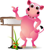Funny rhino with blank board Royalty Free Stock Image