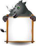 Funny rhino with blank sign Stock Images