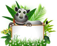 Funny rhino with blank sign Stock Image